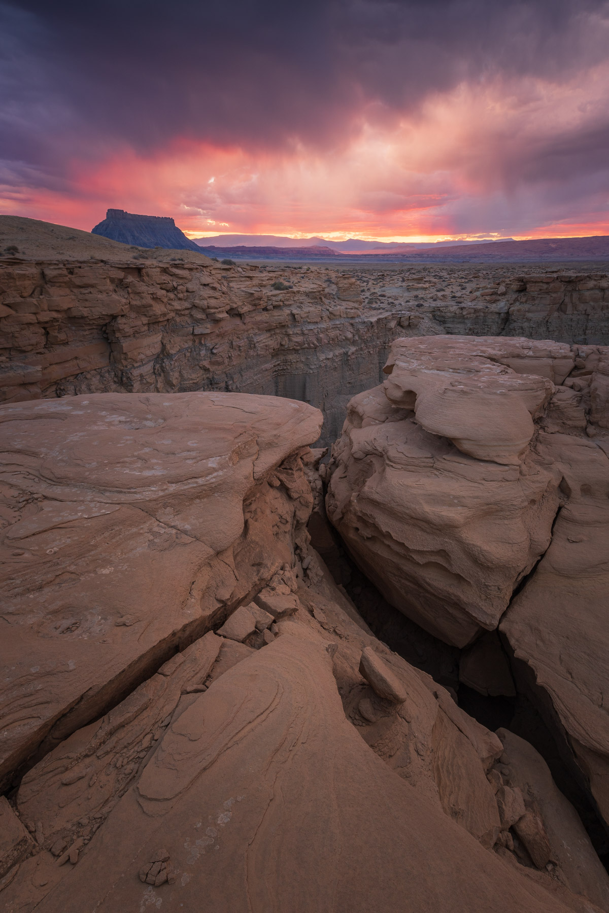 A monsoon storm at sunset in the San Rafeal Swell, Utah.
