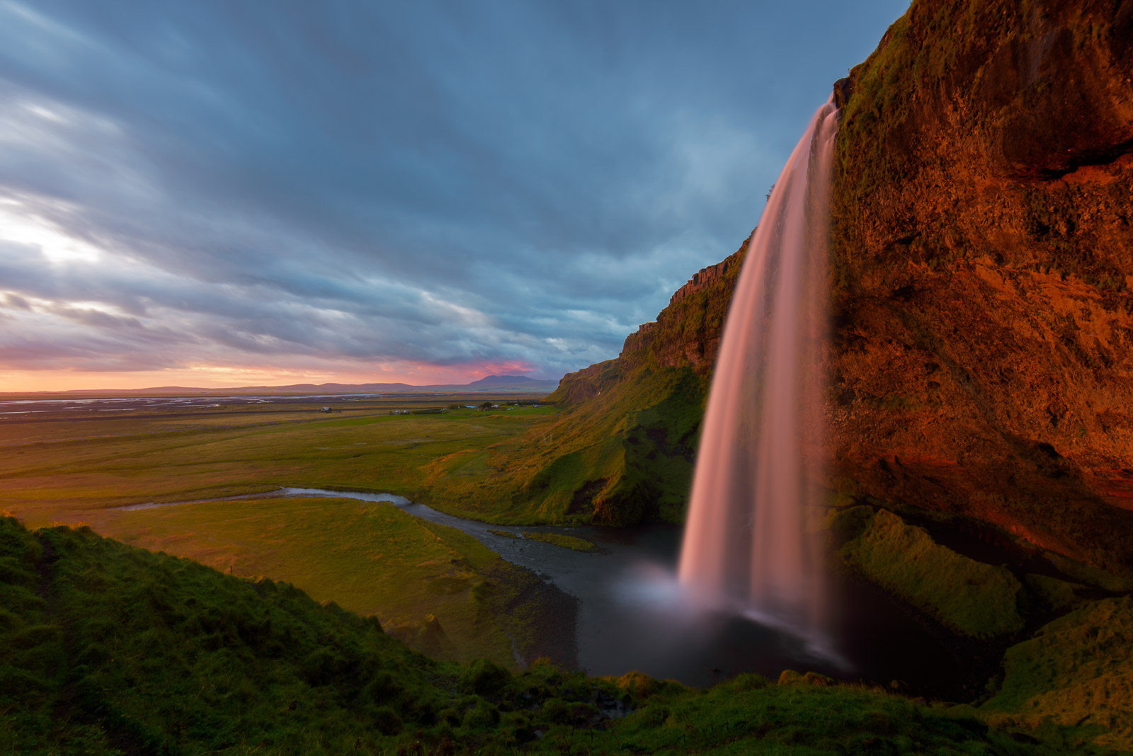 Seljalandfoss waterfall in Iceland captured at sunset in July. Available Print Sizes: 12x18, 16x24, 20x30, 24x36, 30x45, 40x60Limited...