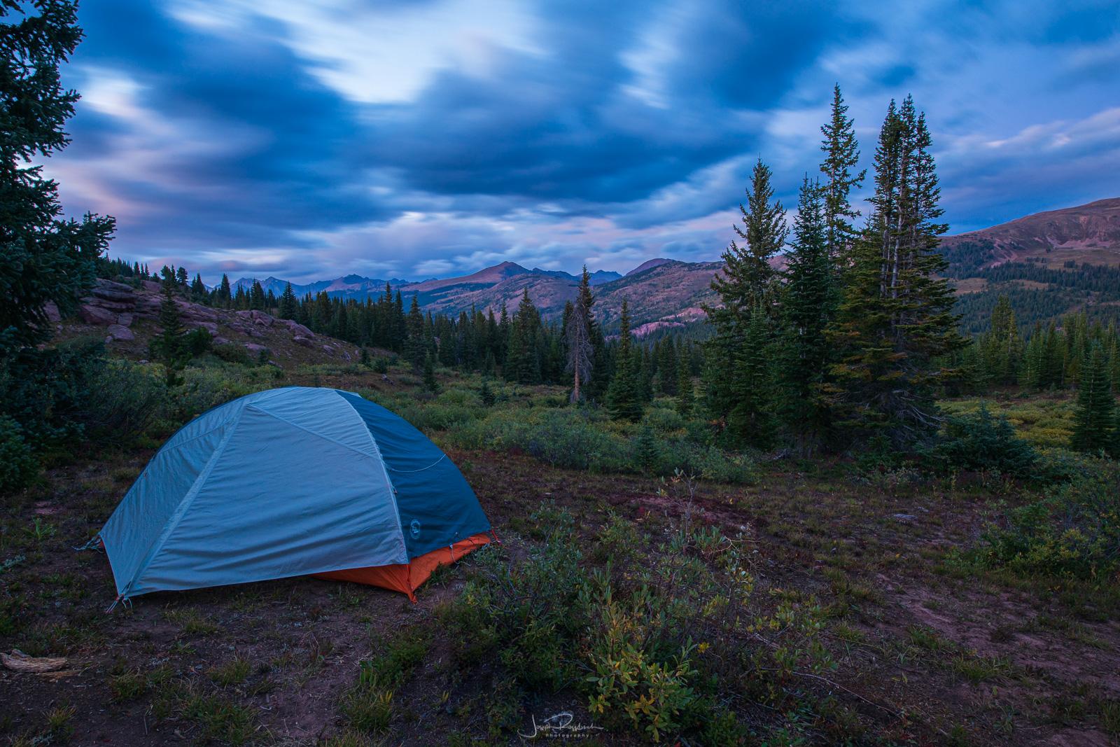 Campsite at twilight from Shrine Ridge.