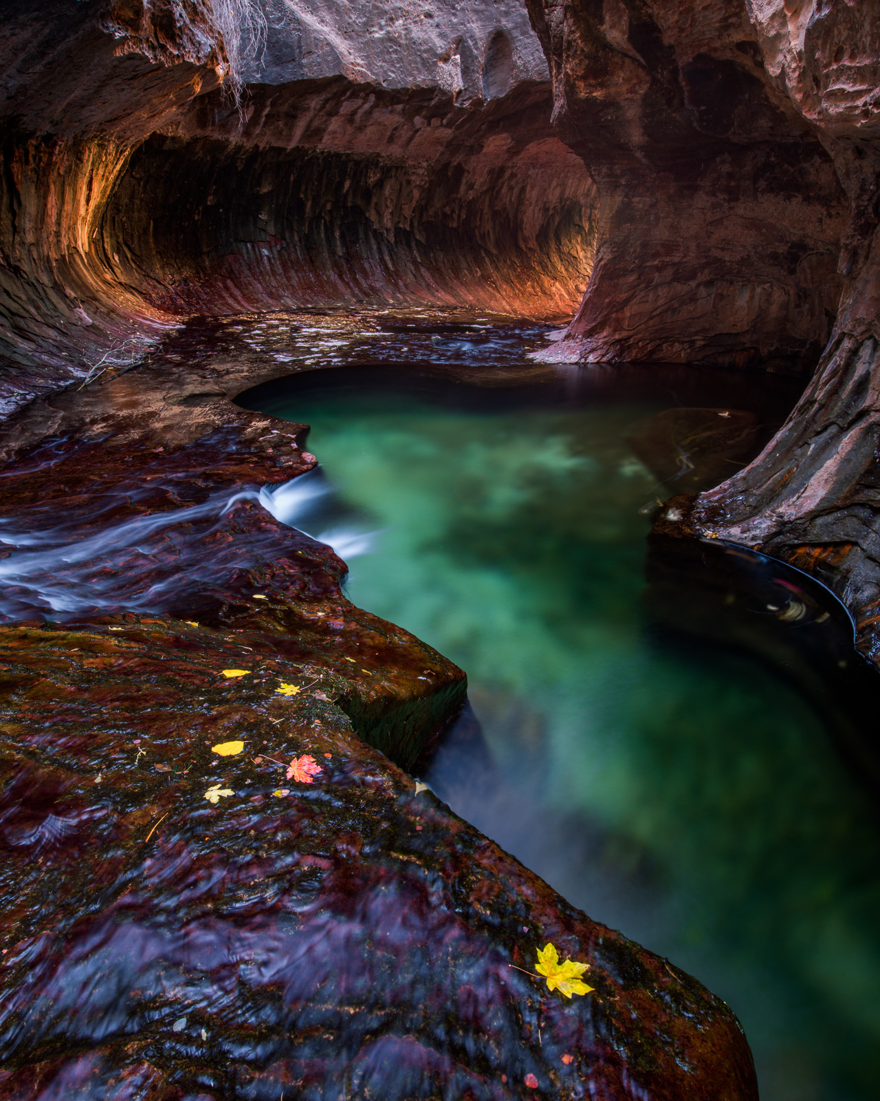 Autumn in the Subway, a remote slot canyon in Zion National Park.