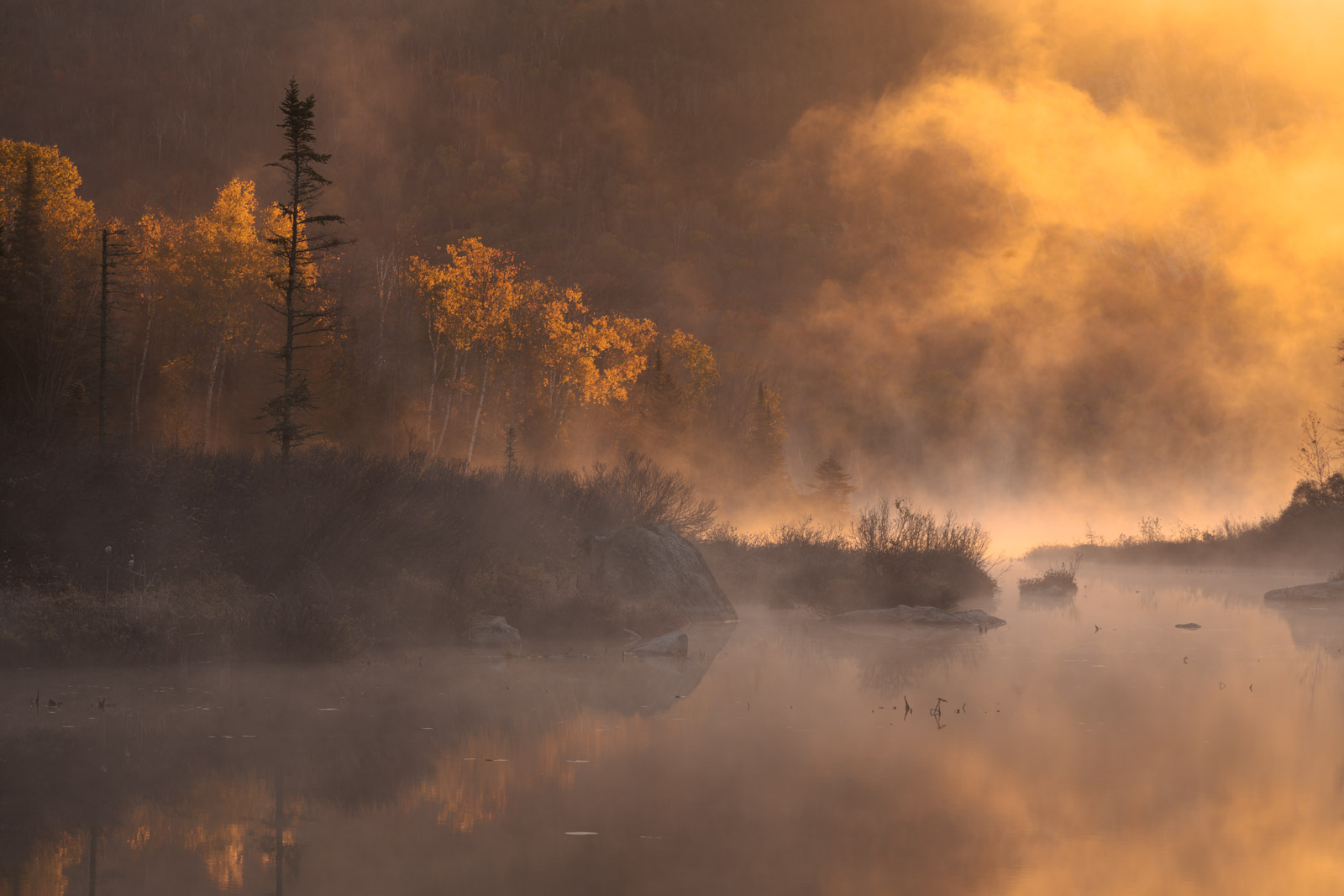 First light and dancing fog on Marshfield Pond, Vermont.
