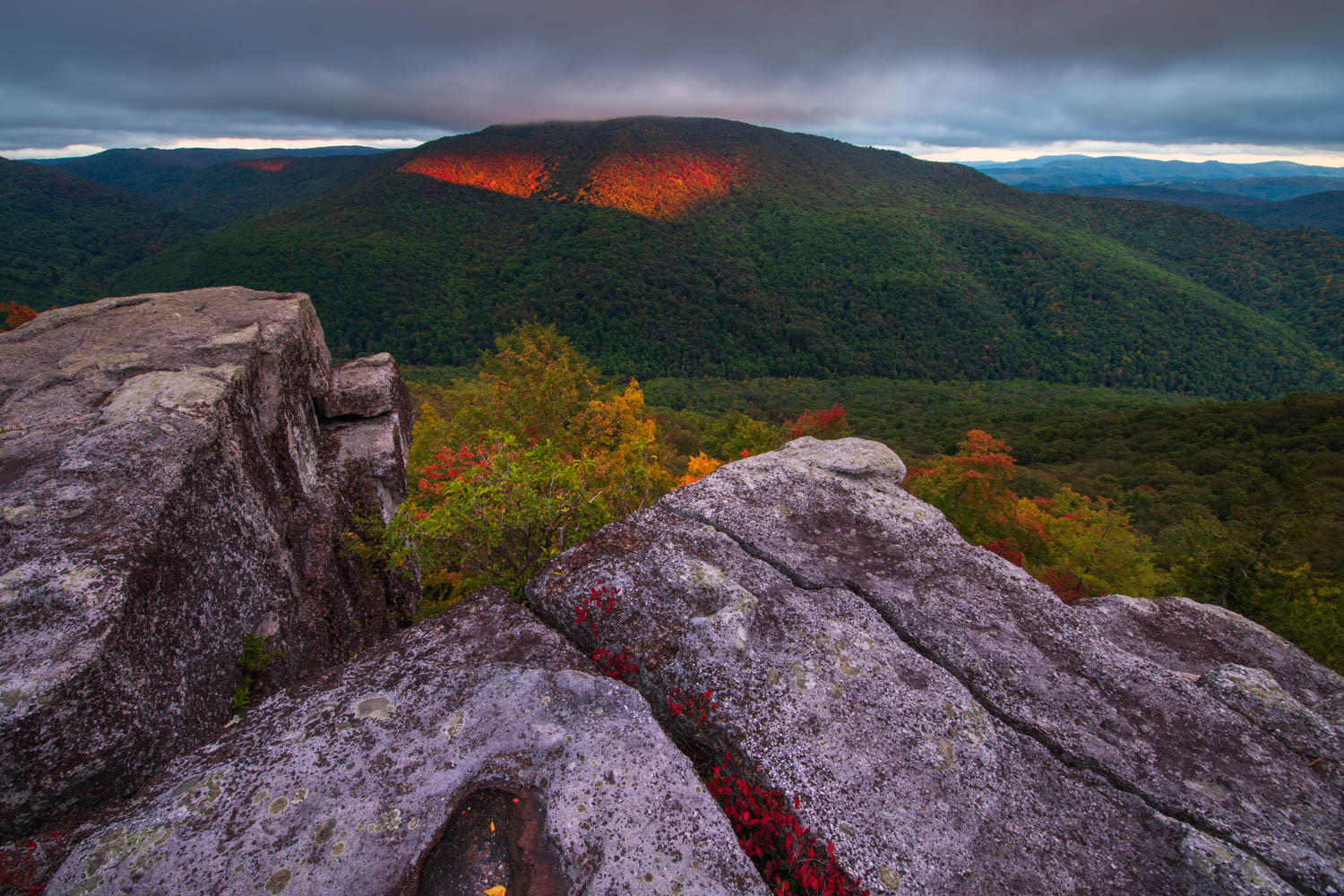A dramatic sunset from Table rock, a remote vista, in the Monongahela National Forest of West Virginia.