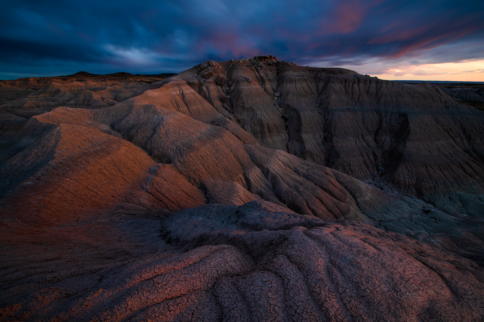 A dramatic sunset over the Badlands of Toadstool Geoligic Park in the Northwest corner of Nebraska.
