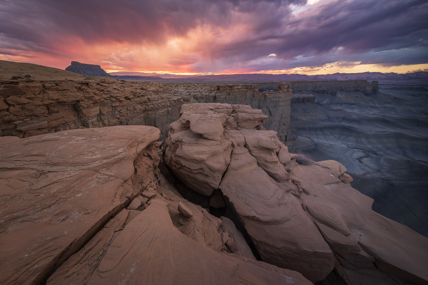 A fiery sunset during the Monsoon in the San Rafeal Swell of Southern Utah.