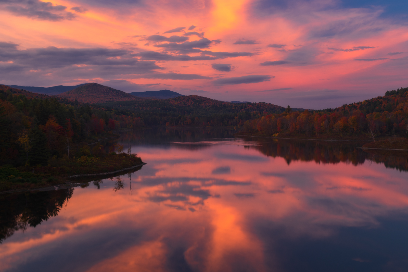 Fiery autumn sunset reflections, Northern Vermont