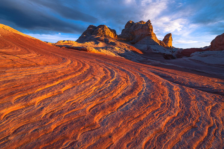 Slickrock striations lead the most rugged sandstone buttes at White Pocket.