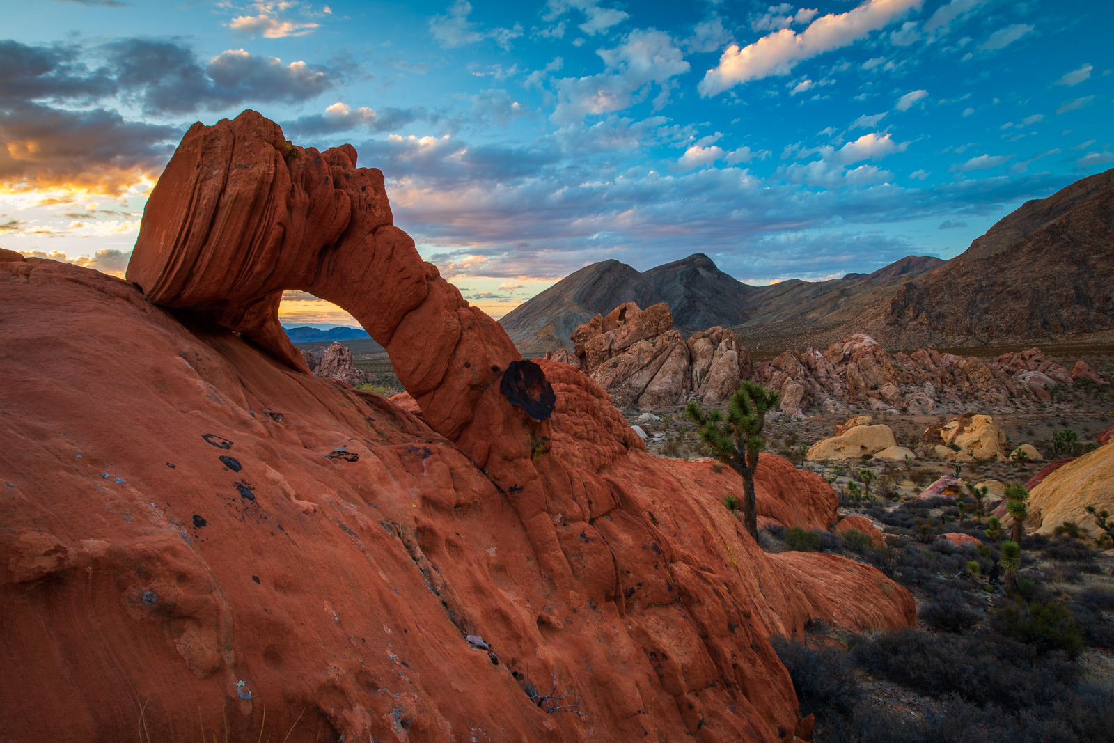 Arch at sunset from Whitney Pocket, Nevada.