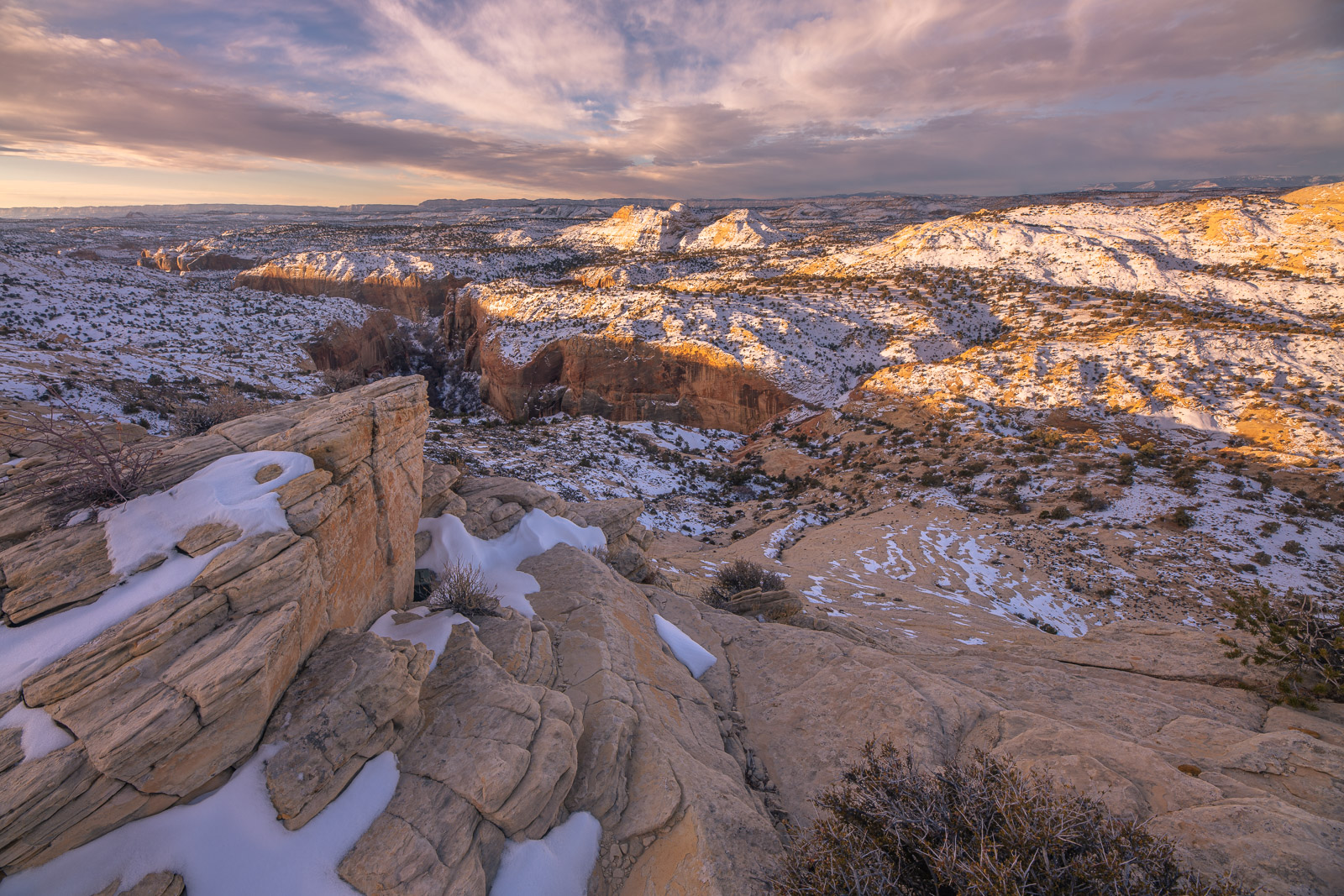 A snowy landscape as seen from above Calf Creek Canyon, Esclante Wilderness, Utah.