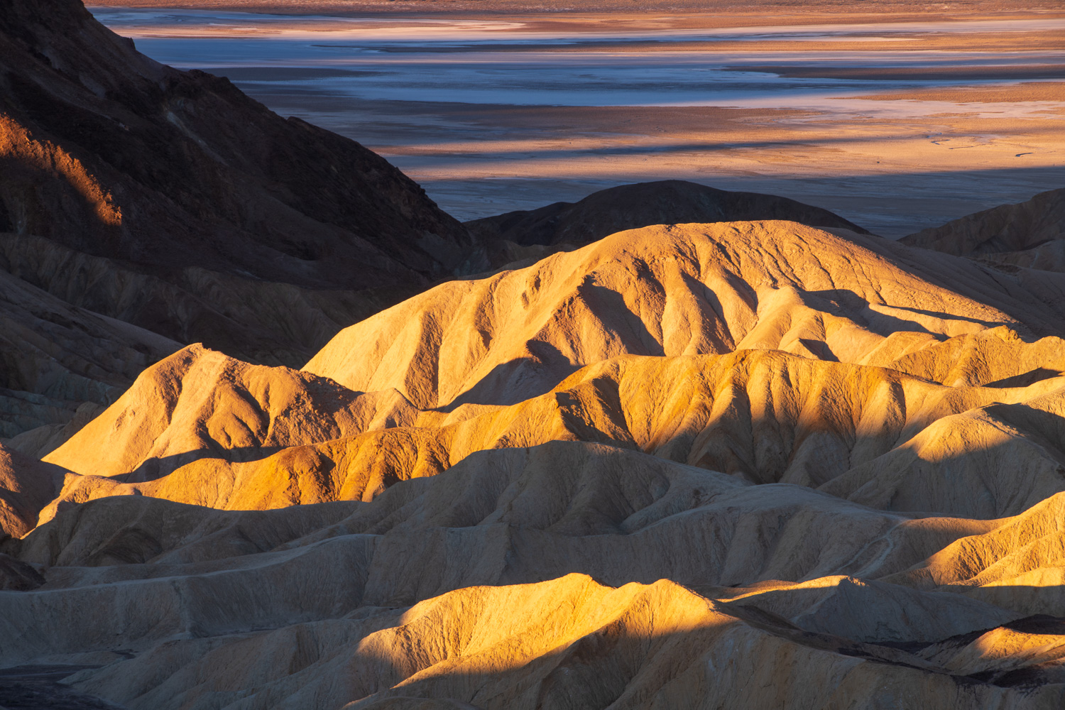 First light on the badlands from Zambriske Point, Death Valley National Park, California.